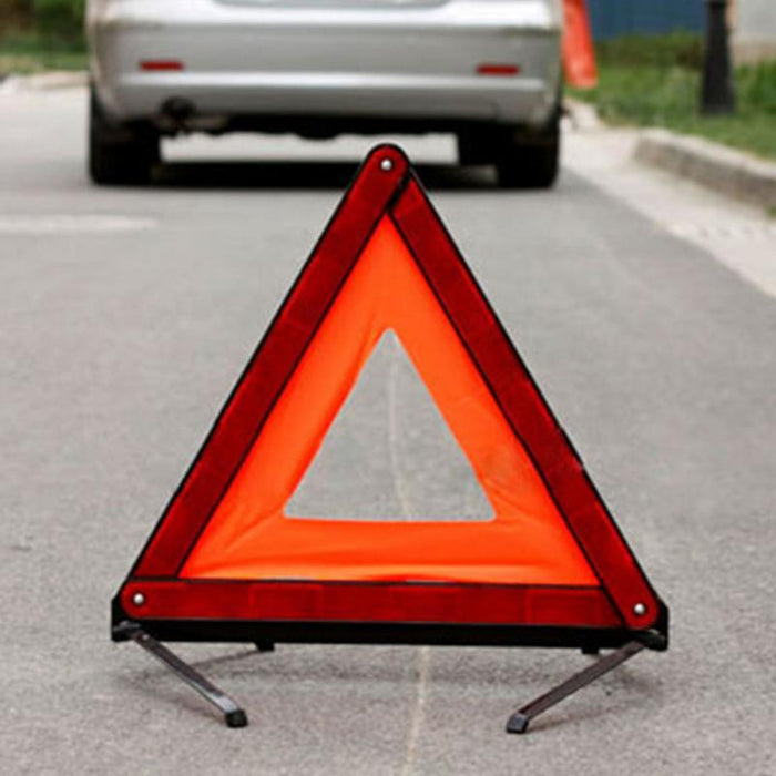 Practical Car Stop Sign Tripod Road Flasher Triangle Emergency Warning Sign Foldable Reflective Safety Roadside Lighting