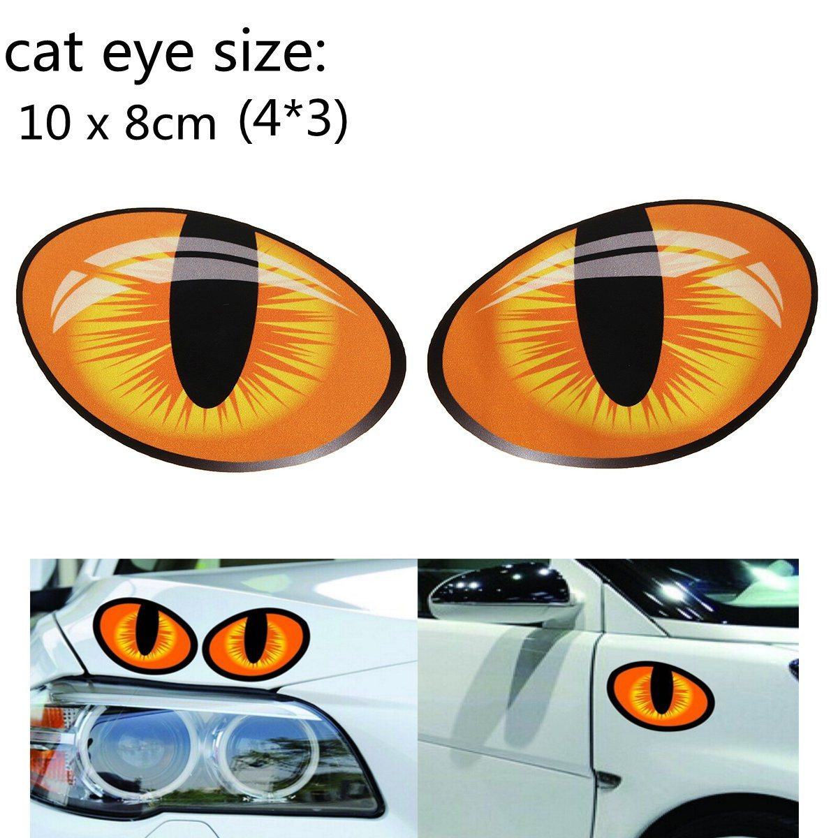 10*8cm 3D Funny Reflective Cat Eyes Car Stickers Truck Window Door Decal Graphics Sticker Decals On Cars Rearview Mirror Head