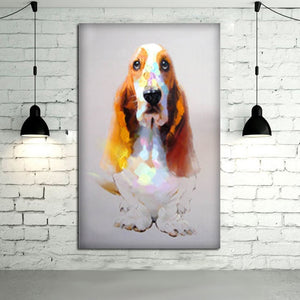 100%Handpainted Modern A Good Quality Animal Oil Painting Wall A Abstract Lovely Dog Wall Picture Home Decor Canvas Artwork