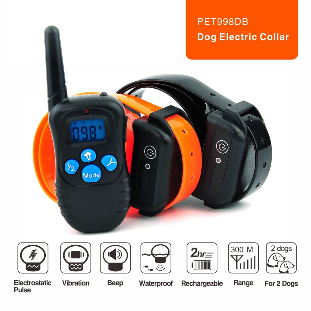 100LV Level 300meter Electronic Shock Vibra LCD Display Remote Control Pet Dog Training Collar 998DB For 2 Dog