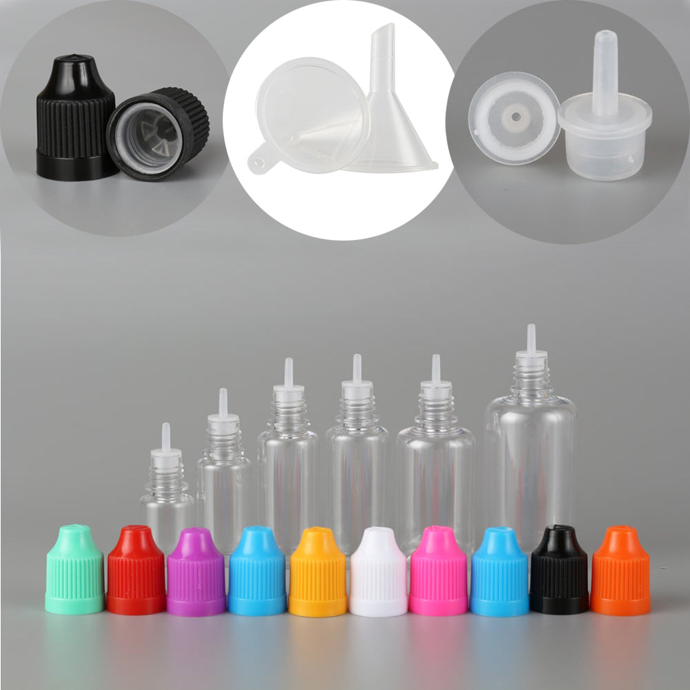 100PCS 3ml-50ml PET Plastic Empty Dropper Liquid Eye Clear Water Bottle Long Tip Cap + 20 Funnel