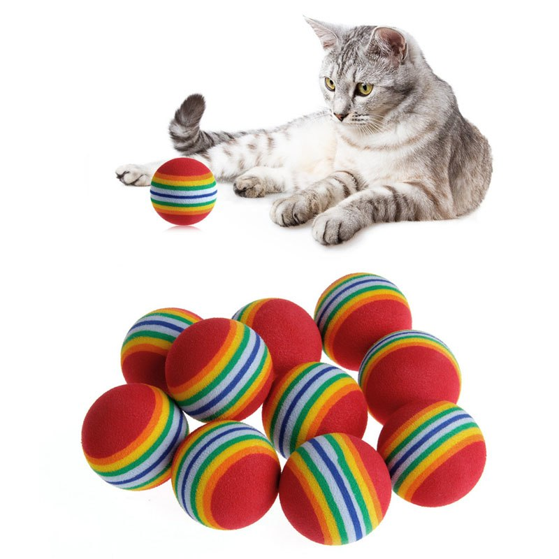 10Pcs Colorful Pet Rainbow Foam Fetch Balls Training Interactive Dog Funny Toys