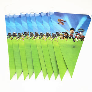 10pcs Party Flag 2.5M Cartoon Paw Puppy Dog Flags Dog Pennats Baby Shower Party Banner Kid Boy Birthday Party Supplier