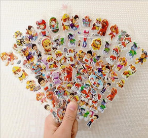 12 Sheets/lot 3D  Ryder Marshall Rubble  dog Stickers  Mixed Cartoon  Waterpoof DIY Children Kids Boy Girl Reward Toys