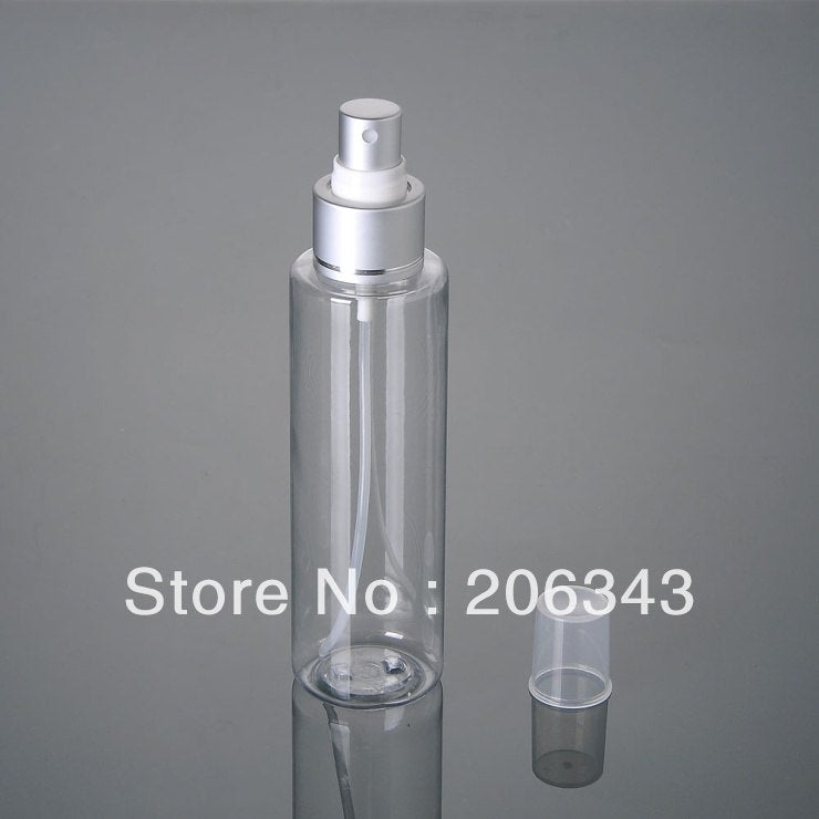 150ML square shoulder plastic PET bottle with silver mi sprayer pump sprayer bottle atomiser bottle