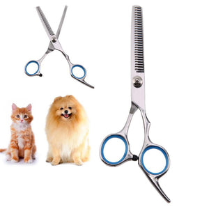 17.5cm Professional Pet Dog Grooming Scissors Puppy Dog Cat Kitten Hair Thinning Scissors Pet Haircut Toothed Blade Shears
