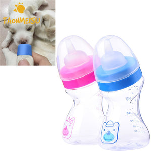 180ml Puppy Kitten Nursing Bottle Pets Feeding Bottle With Silicone Nipple for Dog Cat Baby Feeder Water Milk Bottle RandomColor