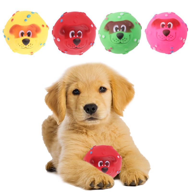 1Pc 7CM Pet Dog Giggle Ball Tough Treat Training Chew Sound Funny Toy Squeaky
