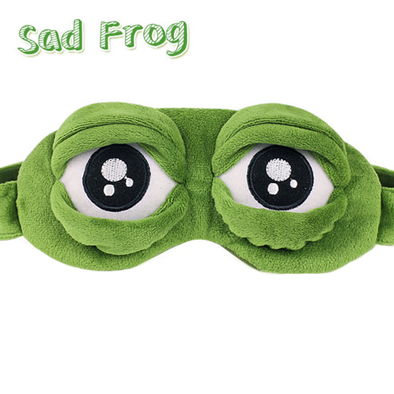 1Pc Adults Kids Sad Frog 3D Eye Mask Soft Sleeping Funny Cosplay Plush Stuffed Toys for Children Costumes Accessories Party Gift