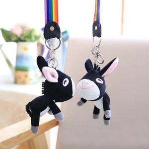1Pc Kids Toy Donkey Animal Handbag Pendant Ornament Stuffed Toy Lovely Cartoon Soft Donkey Animal Plush Stuffed Toy with Rope