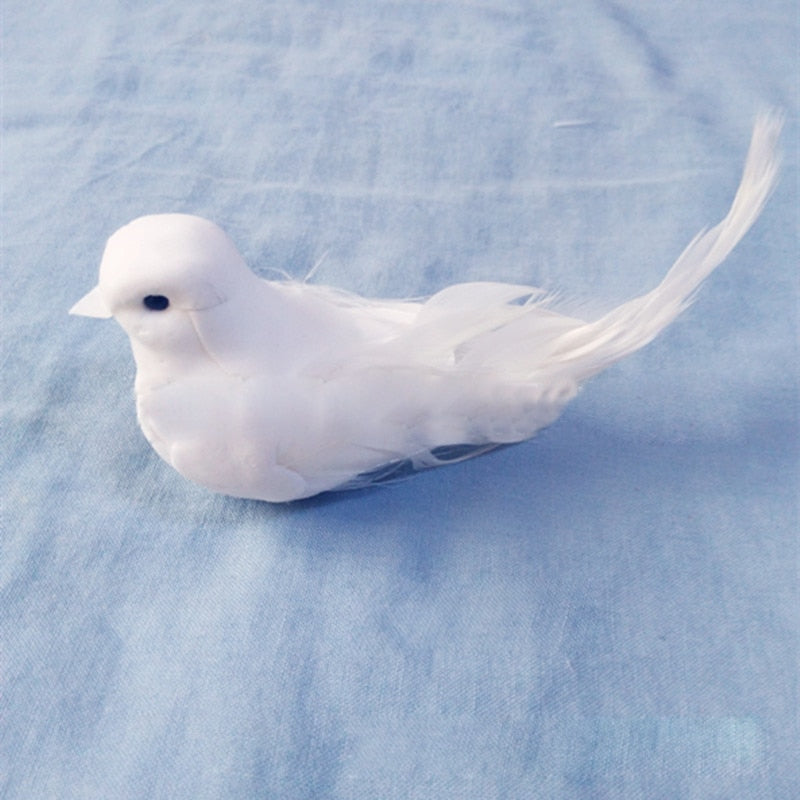1pcs Lovely Artificial Foam Decorative Doves Feather Mini White Birds With Magnet Craft Birds Home Decor Wedding Decorations