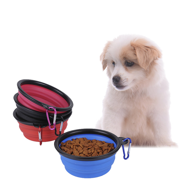 1x Candy Color Collapsible Silicone Pets Feeding Bowl Portable Outdoor Travel Puppy Cat Dog Food Container Feeder Dish With Hook