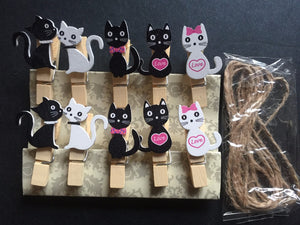 200pcs Love Cat Wooden Photo Pegs,Natural Wood Paper Pegs,Pin Clothespin Crafts C for Wedding Party Favor Gift Decoration