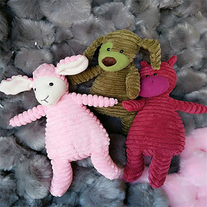 2017 New Cute Bunny Rabbit Puppy Dog Corduroy Plush Toys Soft Stripe Animal Dolls Baby Kids Friends Gift 30/40cm