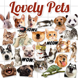 25Pcs/Lot Lovely Pets Puppy Cat Stickers Kids Toys Decal For Snowboard Laptop Luggage Car Fridge Car Styling Vinyl Home Decor