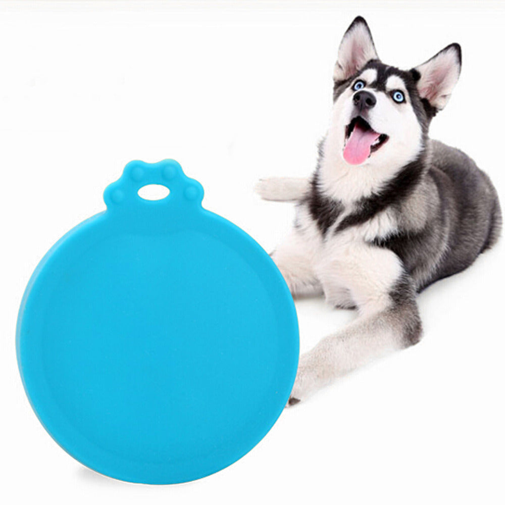 2PCS Pet Food Can Cover Silicone Dogs Cats Storage Tin Cap Lid Reusable Random Color