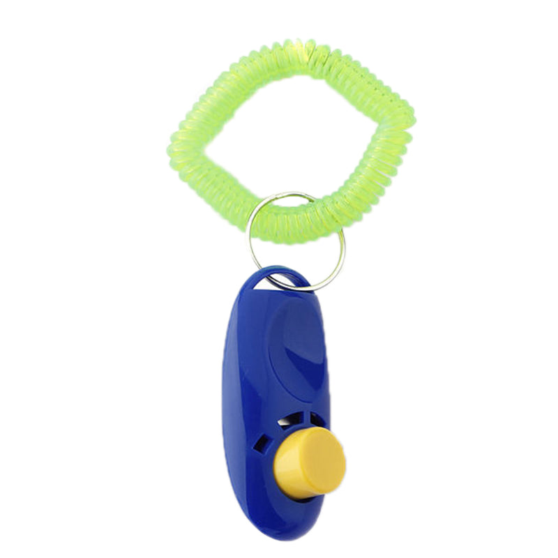 2Pcs Pet Dog Cat Button Click Clicker Trainer Training Obedience Aid Wri Strap Blue