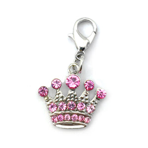 2pcs Bling Rhinestones Pet Jewelry Dog Collar Crown Charms Crystal Pendants For Pet Necklace Puppy Dog Supplies white pink