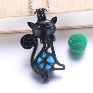 2pcs/lot Black  Dog 21 Design Copper Open Beads Cage Locket Essential Oil Aroma Perfume Diffuser Pendant Necklace 0502