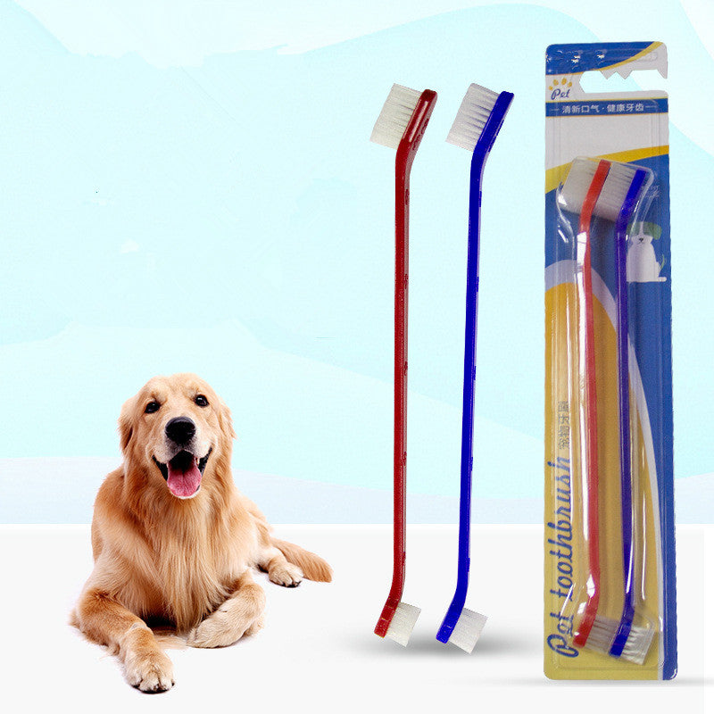 2pcs/set Pet toothbrush set double head pet dog toothbrush cat toothbrush pet dog oral cleaning  Dental Care