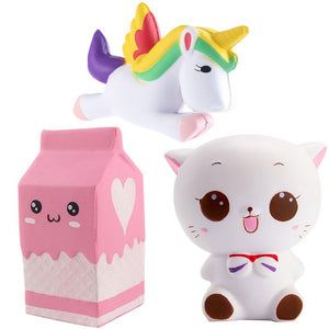 3 Pcs Squishy Toys Set Stress Reliever For Kids And Adults Slow Rising Cute Cream Scented Soft Toys Unicorn Cat Milk Box Squeeze
