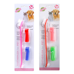 3 Pcs/set Double Head Soft Pet Finger Toothbrush Teddy Dog Cat Puppy Teeth Care Cleaning Brush Pets Grooming Tools Supplies Hot