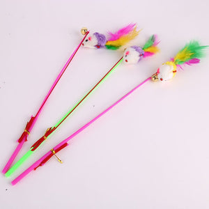 3 Suit Fishing Cat Cats Rod Feather Hamster Dog Pet Funny Cat Length 32cm Color Random Elastic Strong Game Plastic Pet Supplies