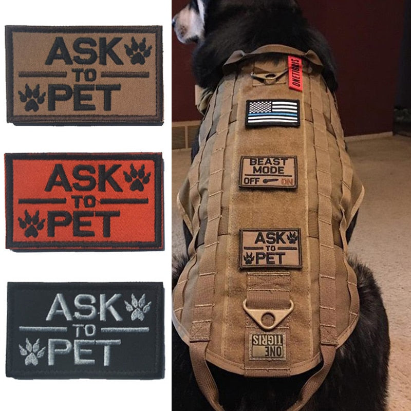 3 pieces Tactical Ask to Pet Patch Morale Military Patch K9 Service Dog Patches Canine Police Training for Ve Harness Backpack