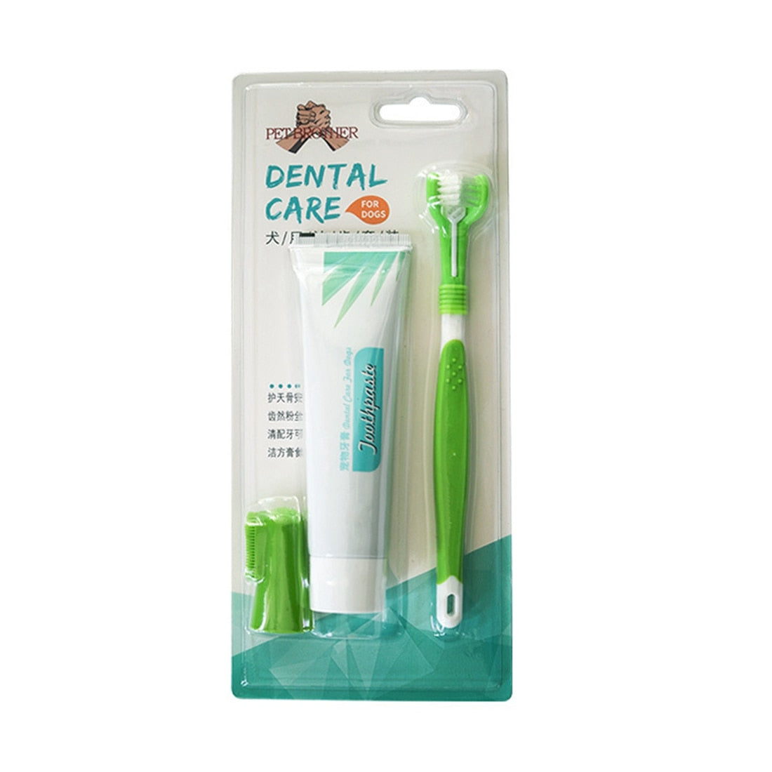 3 sets of dog pet finger toothbrush three head toothbrush toothpaste set pet health dental care toothpaste tooth calculus in a