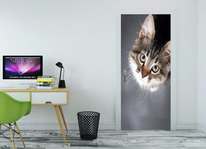 3D Cute Cat Customize Kid's Door Mural Wallpaper mural Wall Print Decal Wall Deco Wall Mural Photo self adhesive door wrap