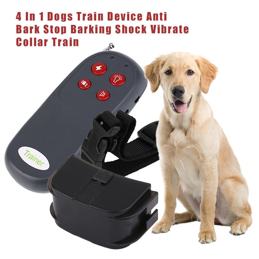 4 In 1 Remote Small Med Dog Training Shock Vibrate Collar Anti Bark Trainer GW