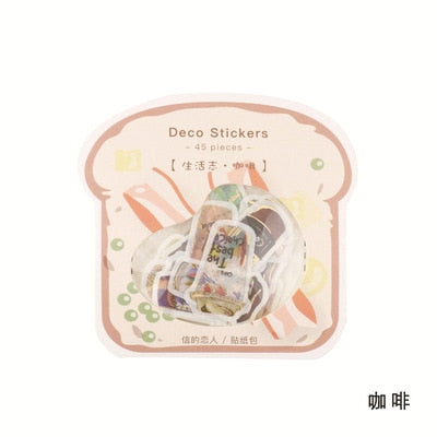 45pcs/pack Cute Label Mini journal Calendar Japanese Dog Cat Bread Coffee Toa Stickers Scrapbooking Stationery School Supplies