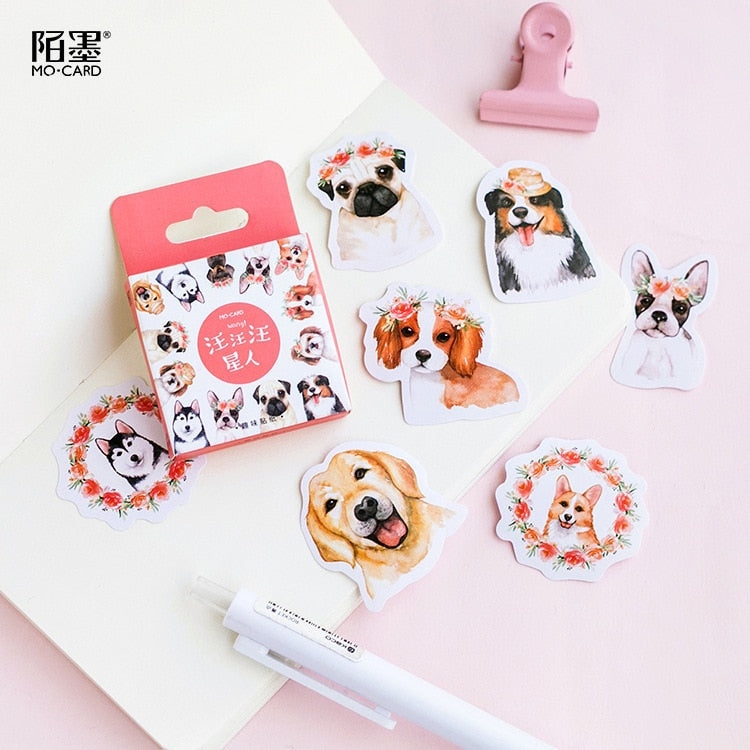 46PCS/box New Cute A Collection Of Puppies Diary Paper Lable Stickers Crafts And Scrapbooking Decorative Lifelog DIY Stationery