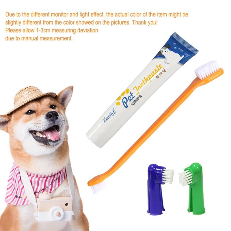 4Pcs/Set 1pcs Toothpaste + 2pcs Brush Head Pet Accessories Set Two-head Pet Accessories + 1pcs Dog Puppy Cat Flavour