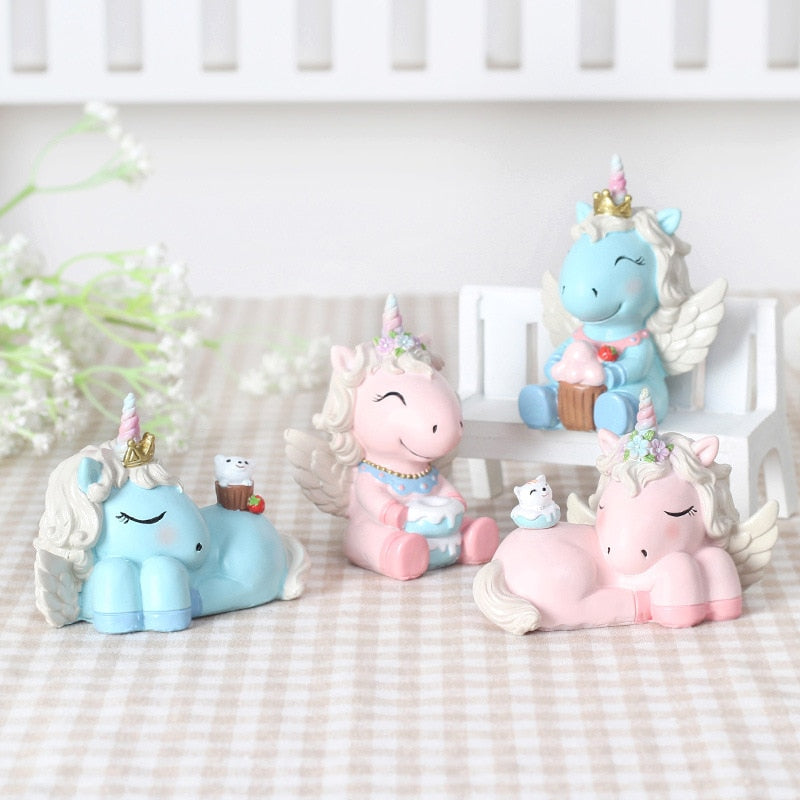 4pcs/set colorful cute horse fairy cartoon Figurines unicorn Miniatures animal home decorative be for birthday gifts