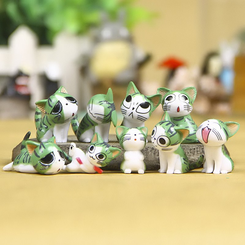 5 Colors 9pcs/lot Cute Kitty Cat Chi's Sweet Home Cute Figures Toys Anime Cat Kitten Emoticon Emoji PVC Action Figure Model Toy