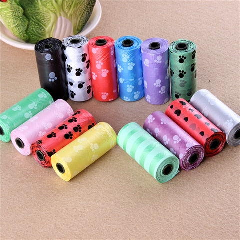 5 Rolls = 75pcs Pet Poop Bag Dog Waste Bag Pet Dog Waste Poop Bag Paw Print Cleaning Refill Pack Bulk Roll Dog Picking Bag