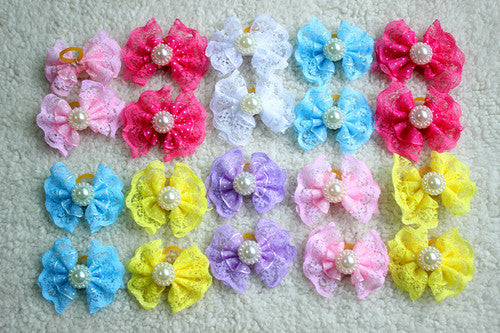 50pcs/lot Fashion Pet Dog Cat Bob Hair Bows Mix Color Butterfly New Lace Dog Hairpin Rubber Bands Handmade Boutique Gift