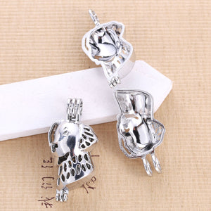 5pcs Cute Pet Dog Pearl Cage Pendant Oyster Pearl Perfume Diffuser Men And Women Pendant Fashion Jewelry Gift Wholesale