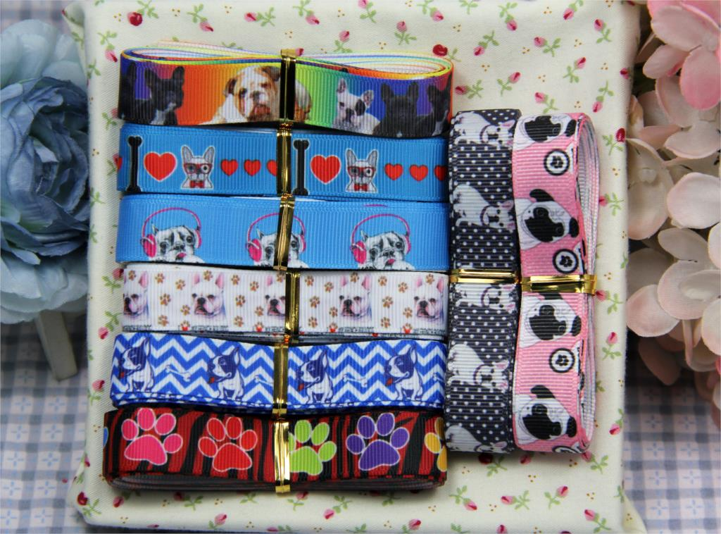 7/8 22mm Dog Series Ribbon Set Bulldog Printed Grosgrain Ribbon Cute Animal DIY Gift Pack Stuffs 2yards/roll 16yards/pack
