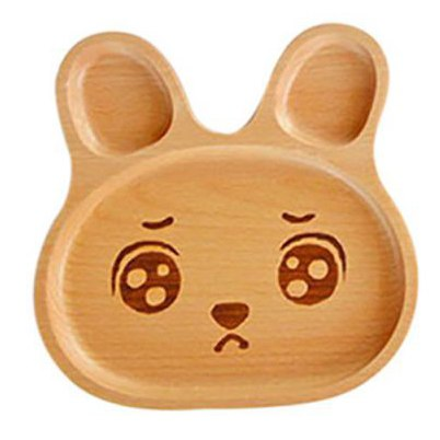 Cute Kitten Rabbit Elk Face Wood Dinner Plate Kids Cartoon Pattern Food Fruit Dish Tray Child Baby Serving Wood Plates