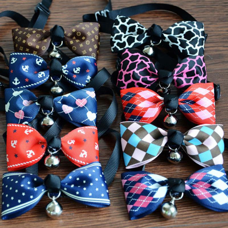 Cute Pets Adjustable Dog Collars Puppy Pet Collars with Bowknot and Bells Necklace Collar For Dogs Cat collars