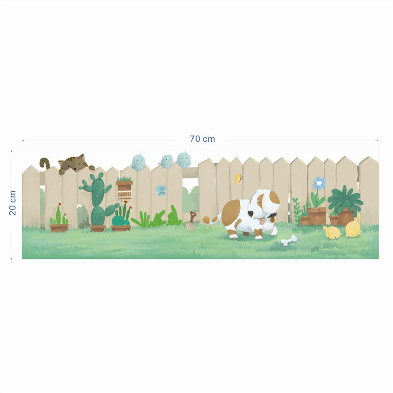 Fence Dog Cat Play On The Grass Baseboard Wall Stickers Bedroom Closet Home Decor Cartoon Animal Decals Pvc Mural A Diy Poster