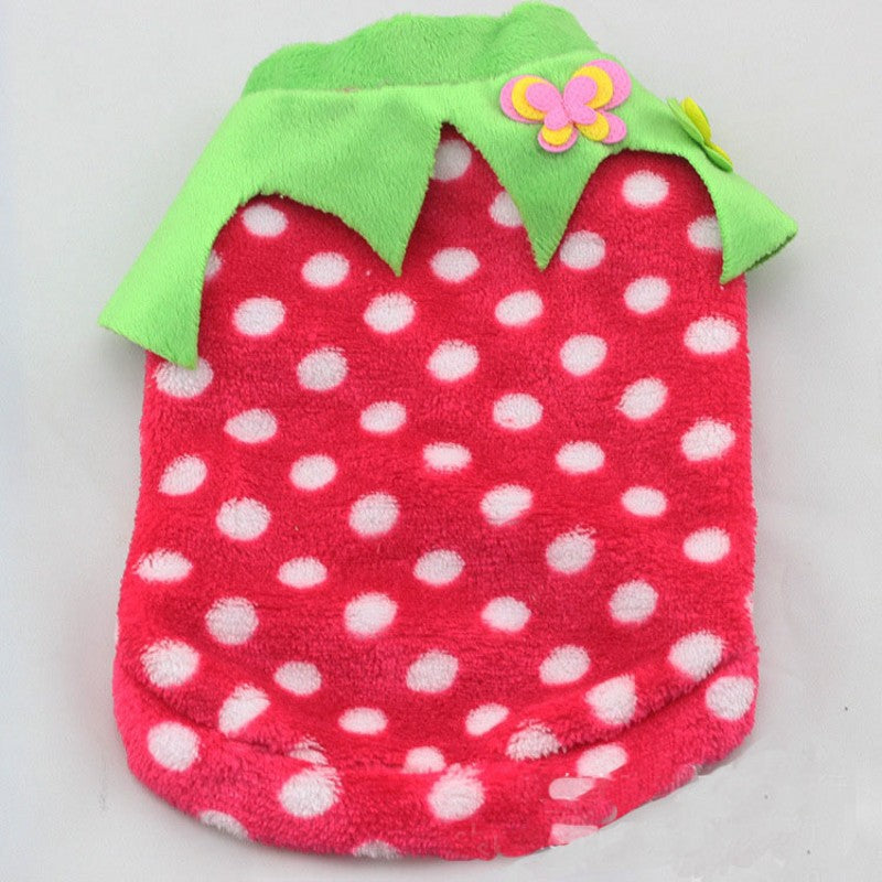 Flannel Dot Dog Clothes Winter Small Dog Clothing Warm Dogs Coat Shi Soft Thicken Pets T-shi Ve For Puppy Apparel XS-XL