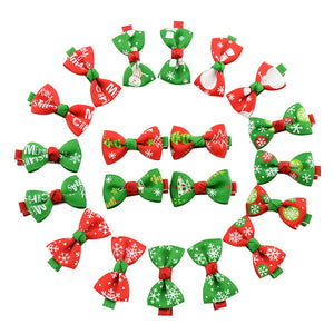 20/50/100 Pcs Dog Hair Clips Handmade Pet Accessories Boutique Santa Dog Bow Grooming Bows for Cats Dog Christmas Gifts