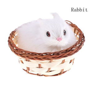 High Quality 2018 Pretty Cute Hare Rabbits Cat Dog In Basket Furry Plush Toys Craft Collectible Gift For Children Kids