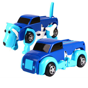 High quality Transform Dog Car Novelty Clockwork Deformable Car 14CM Dog-New Year Kids Toy Cool Automatic boy toy birthday Gift