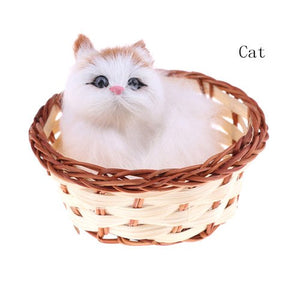 New Fashion 1pc Kawaii Hare Rabbits Cat Dog In Basket Furry Plush Toys Craft Collectible Gift For Children Kids High Quality