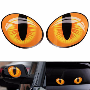 Pair 3D Funny Reflective Cat Eyes Car Stickers Truck Head Engine Rearview Mirror Window Cover Door Decal Graphics 10 x 8cm