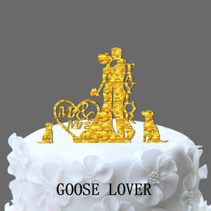 Personalized Name Wedding Cake Topper, Couple Silhouette Wedding Cake Topper With Two Dog And Hea Decor Funny Cake Topper